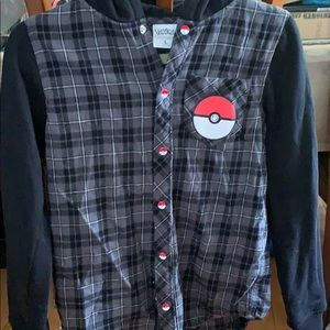 Boys long sleeve Pokémon button down hoodie sz L